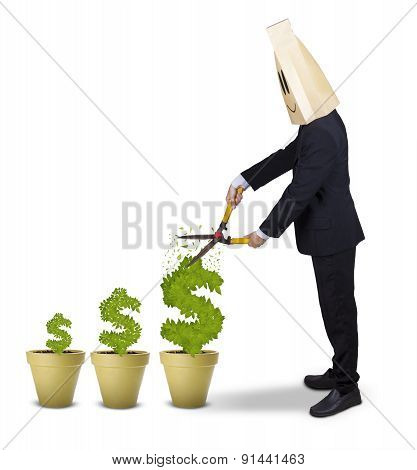 Worker Cutting Money Tree With Scissors