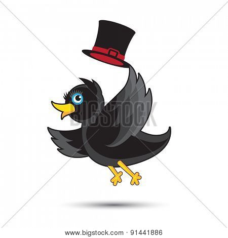 Small Cute Black Bird with Hat
