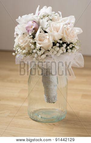 White Wedding Bouquet In Glass Mug