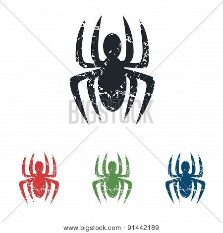 Spider grunge icon set