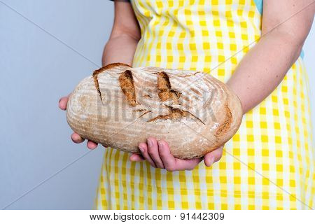 Delicious Self Made Bread In Woman`s Hands