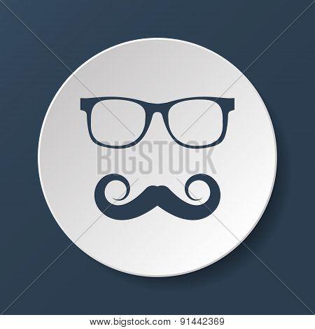 Mustache And Glasses Vector Icon.