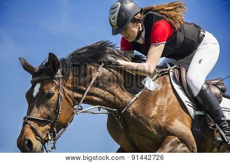 Horsewoman On Brown Horse In Jump Over A Hurdle