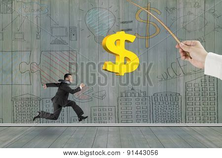 Man Running Golden Dollar Sign Fishing Lure Business Doodles Wall