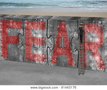 Businessman Climbing Ladder Puzzles Concrete Wall Red Fear Word