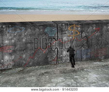 Man Pushing Huge Puzzle Door Of Business Doodles Concrete Wall
