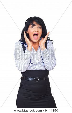Surprised Business Woman  Shouting