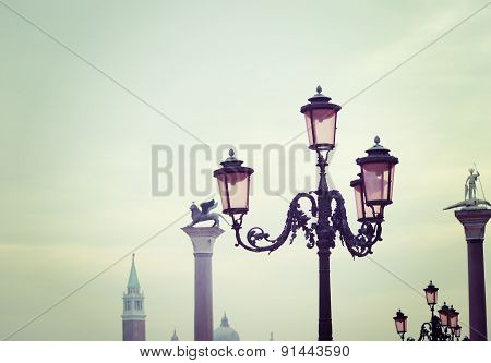 Lamppost In Venice In Vintage Tone