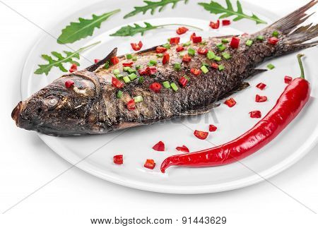 Close up of grilled carp steak