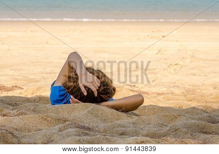 Relaxing On Beautiful Beach And Tropical Sea