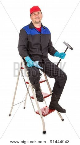 Worker on a staircase.