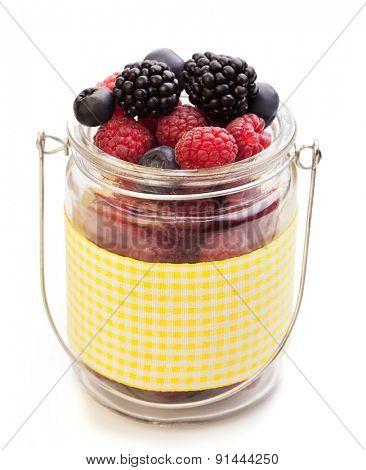 different berries (blueberries raspberries blackberries) isolate on white