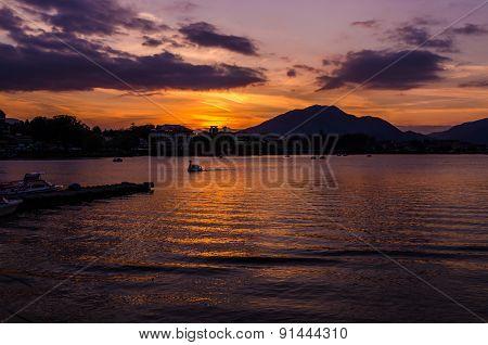 Sunrise On A Calm Lake In Autumn