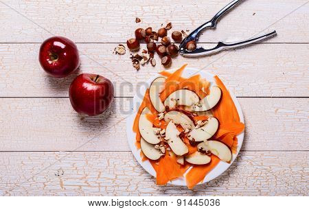 Fresh Salad With Apples, Carrots, Hazelnuts