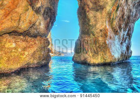 Cave In Orosei Gulf In Hdr