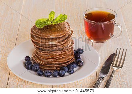 Homemade Chocolate Pancakes With Berries