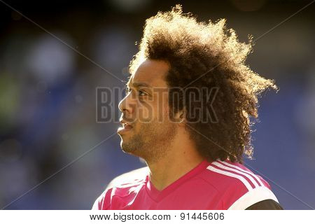 BARCELONA - MAY, 17: Marcelo Vieira of Real Madrid before a Spanish League match against RCD Espanyol at the Power8 stadium on Maig 17 2015 in Barcelona Spain