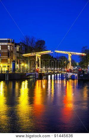 Night City View Of Amsterdam