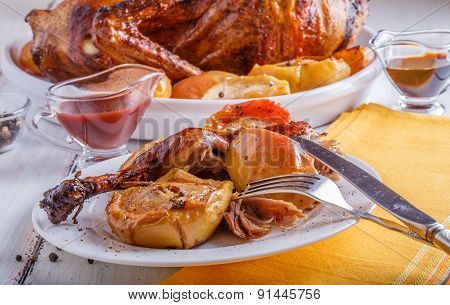 Duck Roasted With Apples