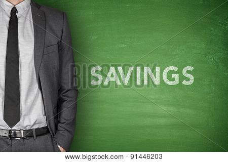 Savings text on blackboard