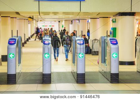 Ticket Barriers At The Centraal Railway Station In Amsterdam