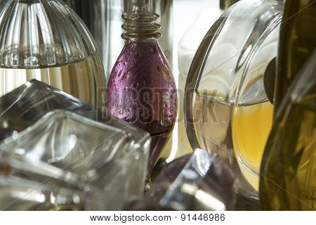 Closeup Of Bottles Of Perfume