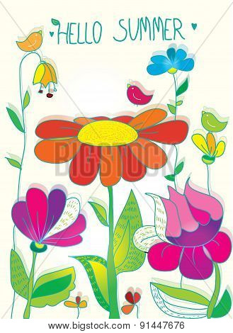 background with flowers and bird
