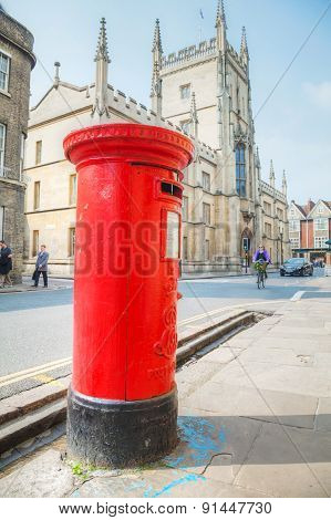 Famous Red Post Box On A Street In Cambridge, Uk