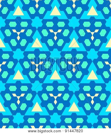 Blue Cyan Yellow Color Abstract Geometric Seamless Pattern.