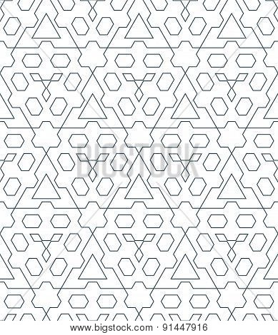 Dark Monochrome Color Triangle Outline Abstract Geometric Seamless Pattern.