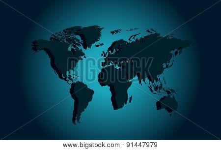 World map Blue 3d