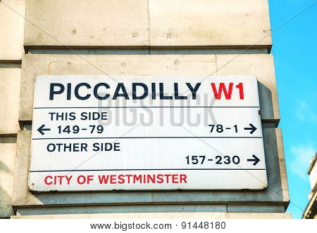 Piccadilly Street Sign In London, Uk