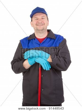 Man cleaning with mop.