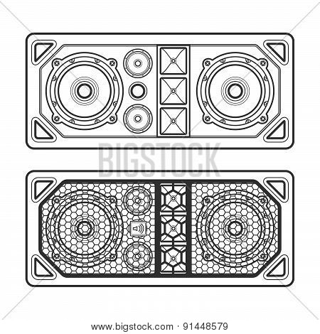 Professional Concert Tour Array Speakers Dark Contour Illustration.