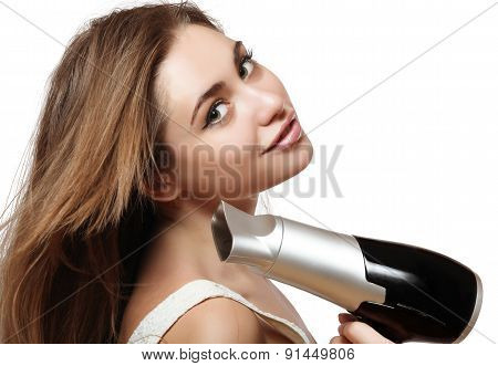 Girl With Hair Dryer