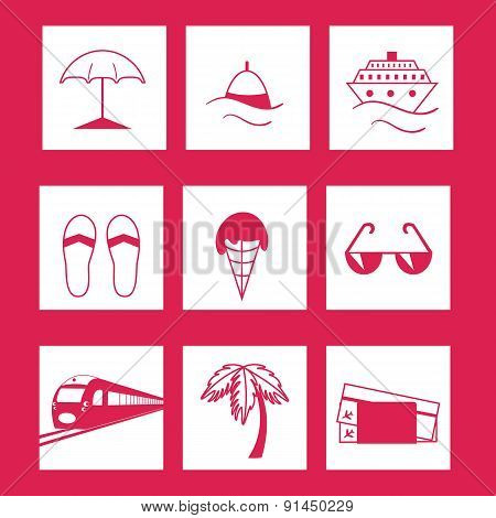 Travel And Vacation Icons Set .