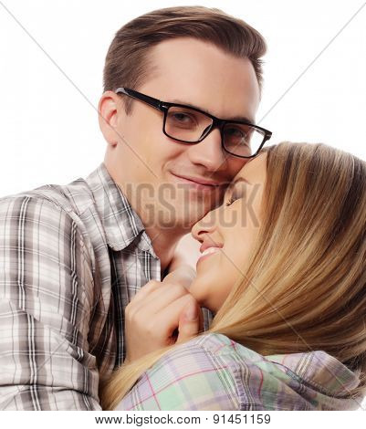 people, friendship, love and leisure concept -   Thoughtful couple hugging  isolated over white background