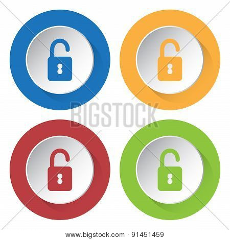 Set Of Four Icons With Open Padlock