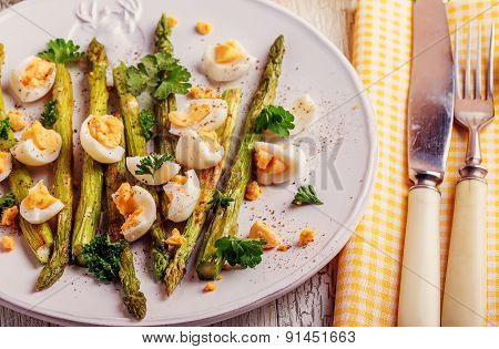 Grilled Asparagus With Quail Eggs