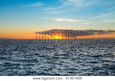 Sunset Over The Coast Of Atlantic Ocean