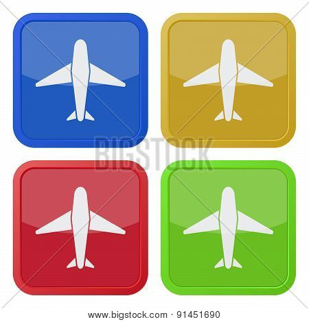 Set Of Four Square Icons With Airplane