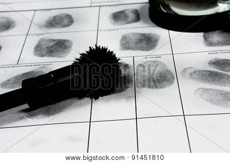 Fingerprint on police fingerprint card.