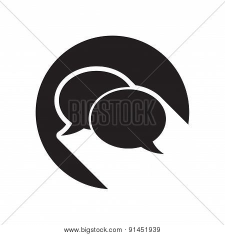 Black Icon With Speech Bubbles And Stylized Shadow