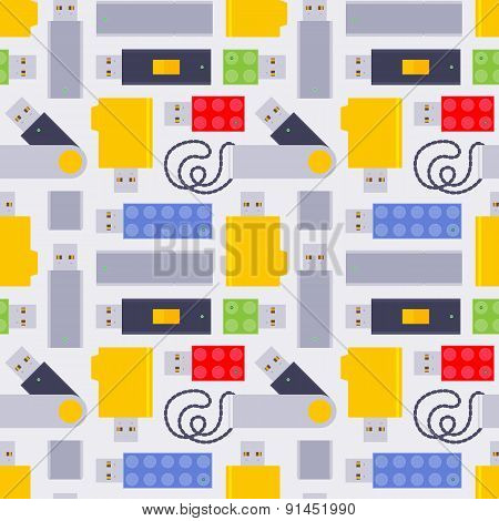 Seamless pattern with the USB flash-drives