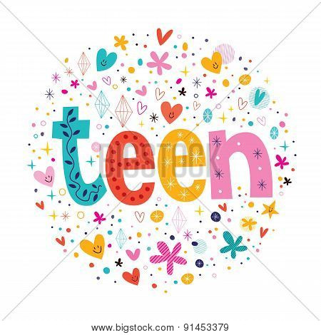 word teen typography lettering decorative text