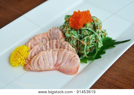 Grilled Salmon And Wakame