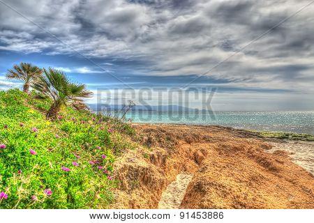 Orange Rocks In Le Bombarde Beach In Hdr