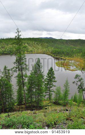 The Yakut Taiga Lake Cloudy Day.