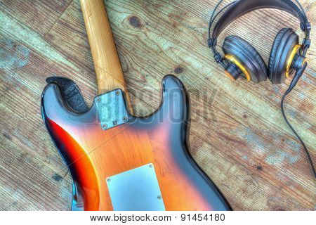 Electric Guitar And Headphones In Hdr