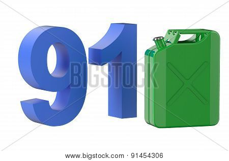 Steel Green Jerrycan With 91 Gasoline